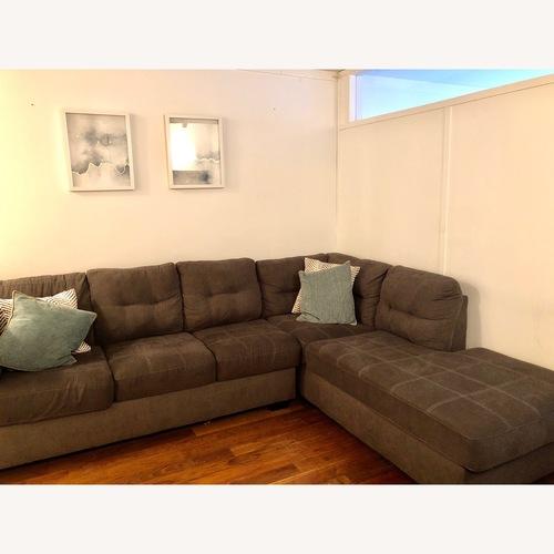 Jennifer Convertibles Grey Fabric Sectional Sofa