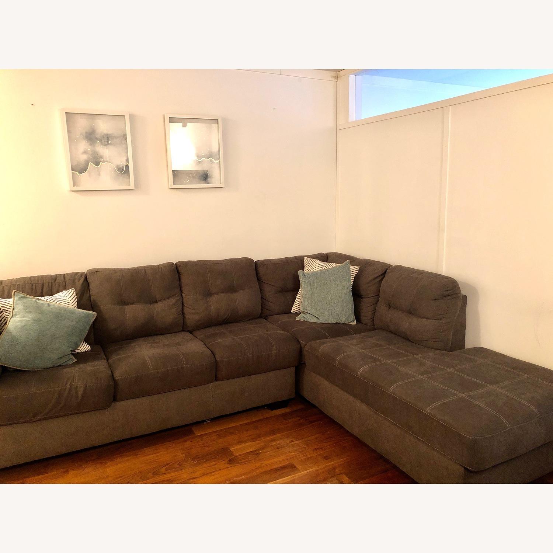 Jennifer Convertibles Grey Fabric Sectional Sofa - image-3