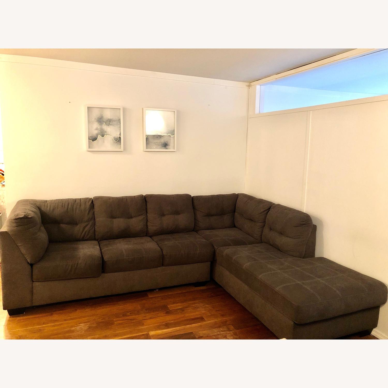 Jennifer Convertibles Grey Fabric Sectional Sofa - image-1
