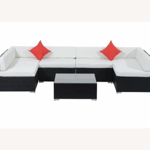 7 Piece Patio Sectional Sofa w/ Cushions & Coffee Table