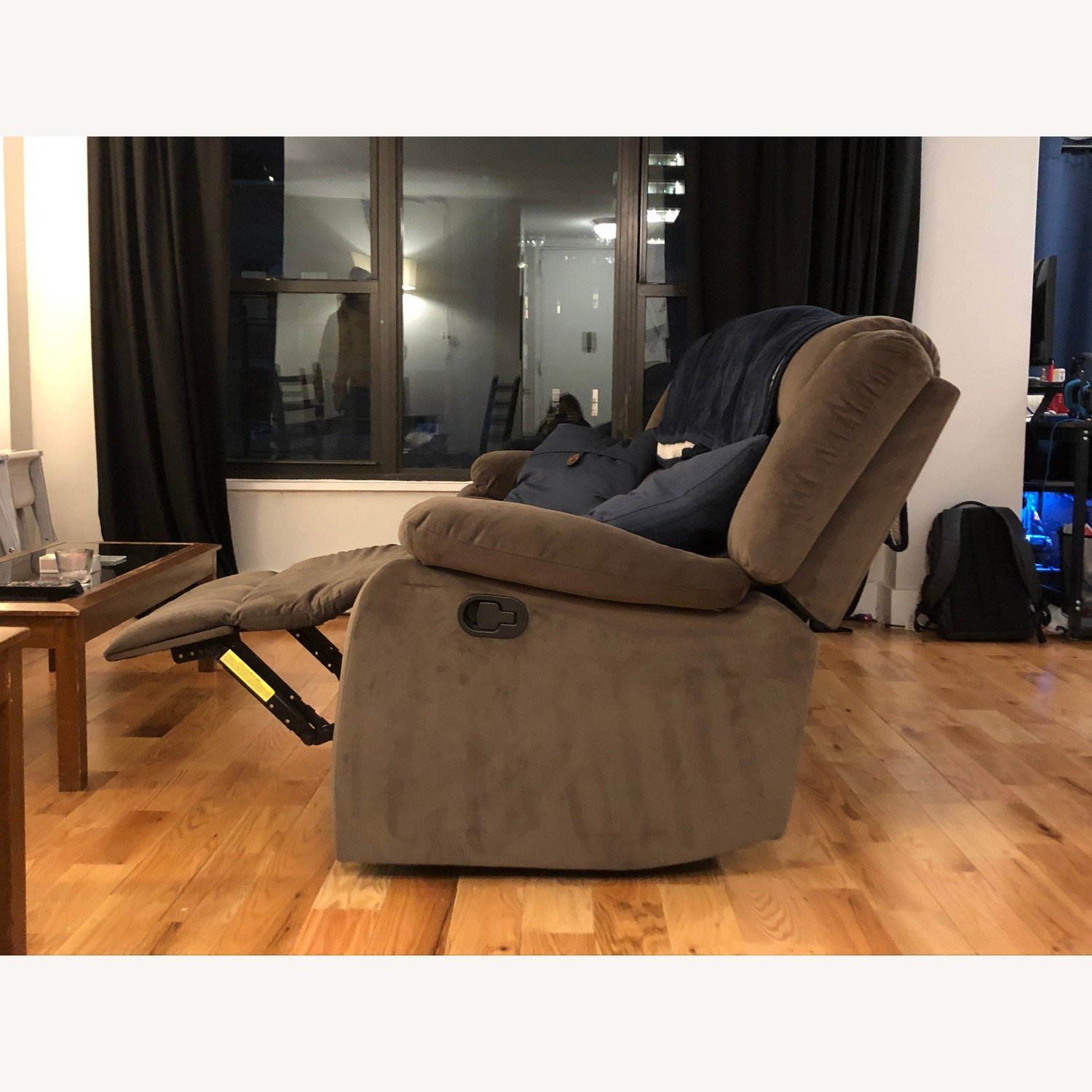 Raymour & Flanigan Brown Suede Reclining Sofa