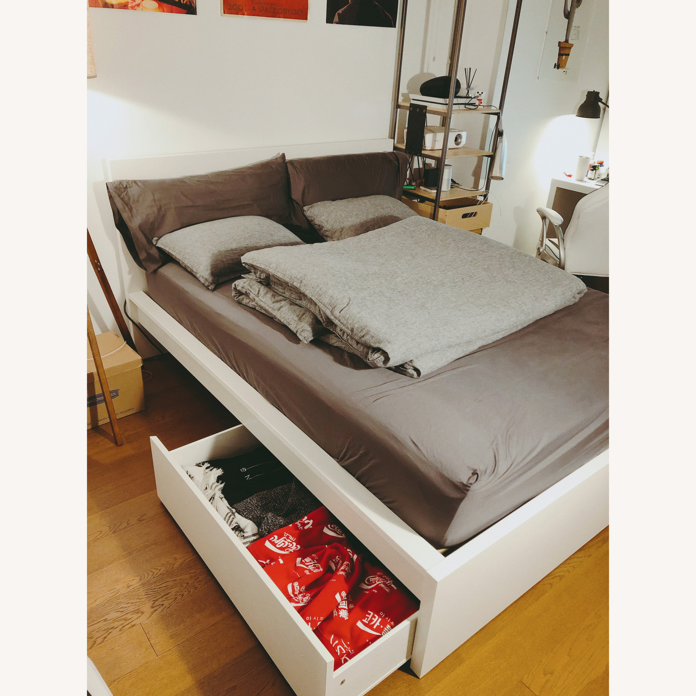 Ikea Malm White Queen Bed Frame W 2 Storage Boxes Aptdeco