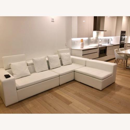 Modani White Leather Corner Sectional Sofa