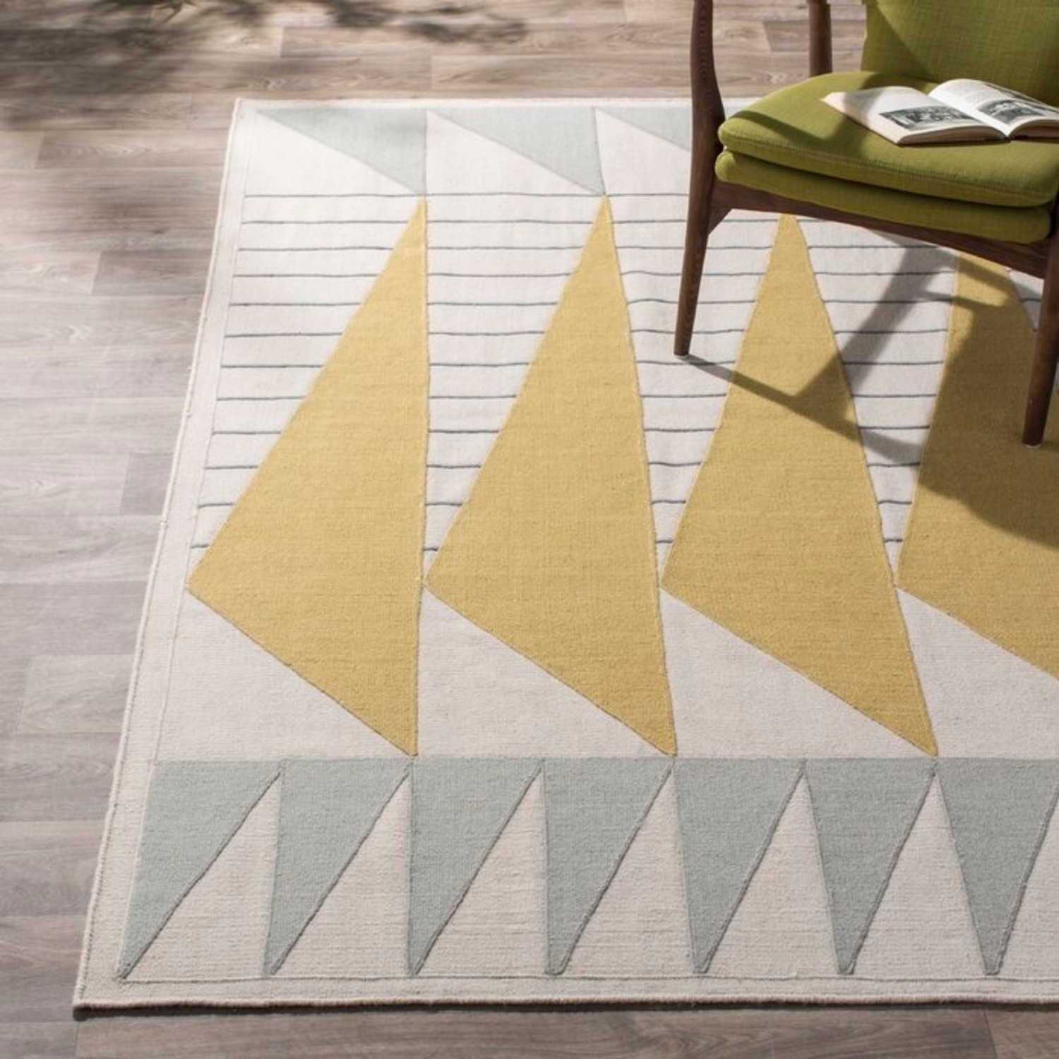 Briggs Hand-Tufted Cotton Gold/Gray Area Rug - image-1