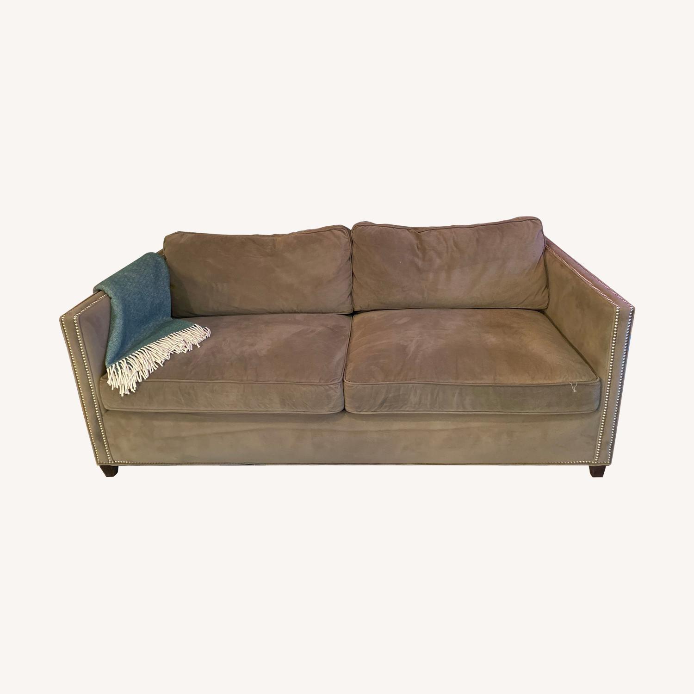 Crate & Barrel Sleeper Sofa w/ Nailheads - image-0