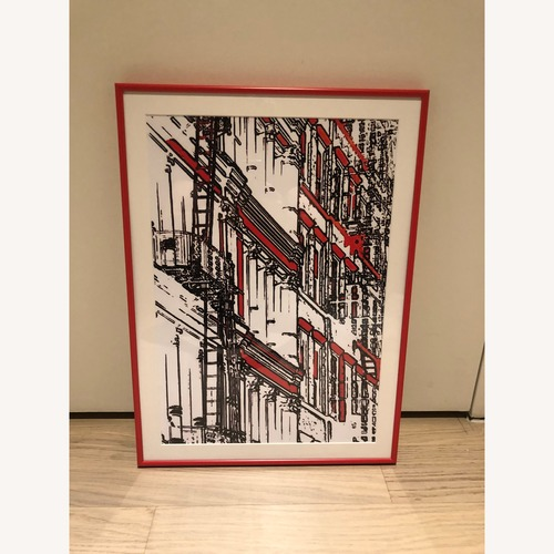 Red Framed Prints NYC Wall Decor