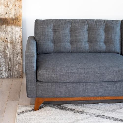 Macy's Grey Modern Tufted Sofa