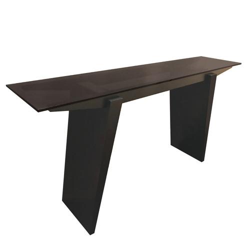 BDI Espresso Console Table w/ Smoky Glass Top