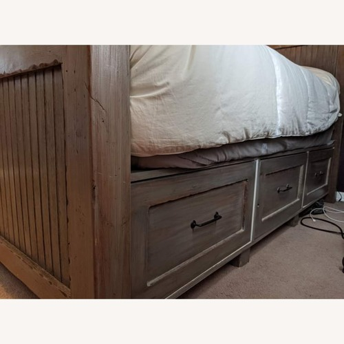 Horchow Wood King Size Bed w/ 6 Storage Drawers