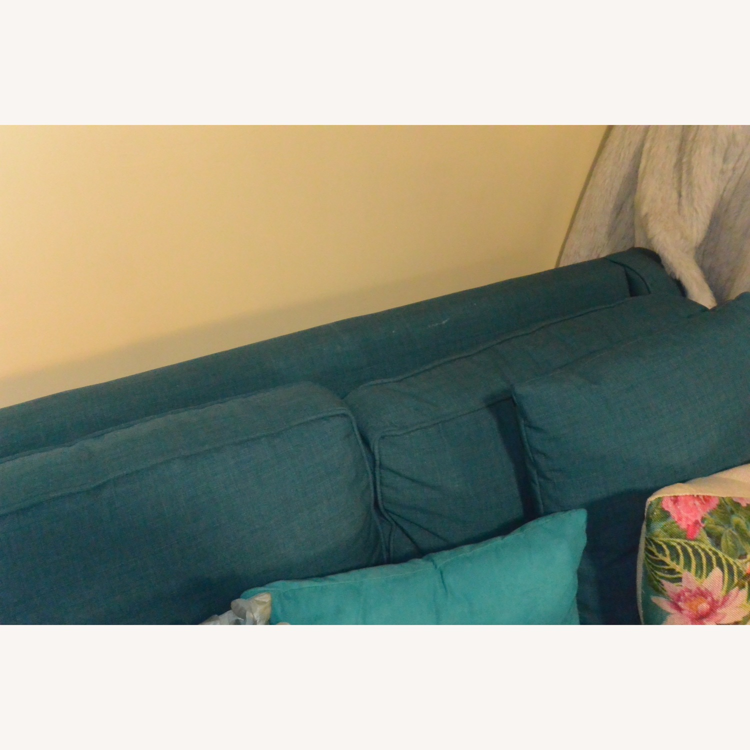 Macy's Keegan Peacock Blue Sectional Sofa w/ Pillows - image-3