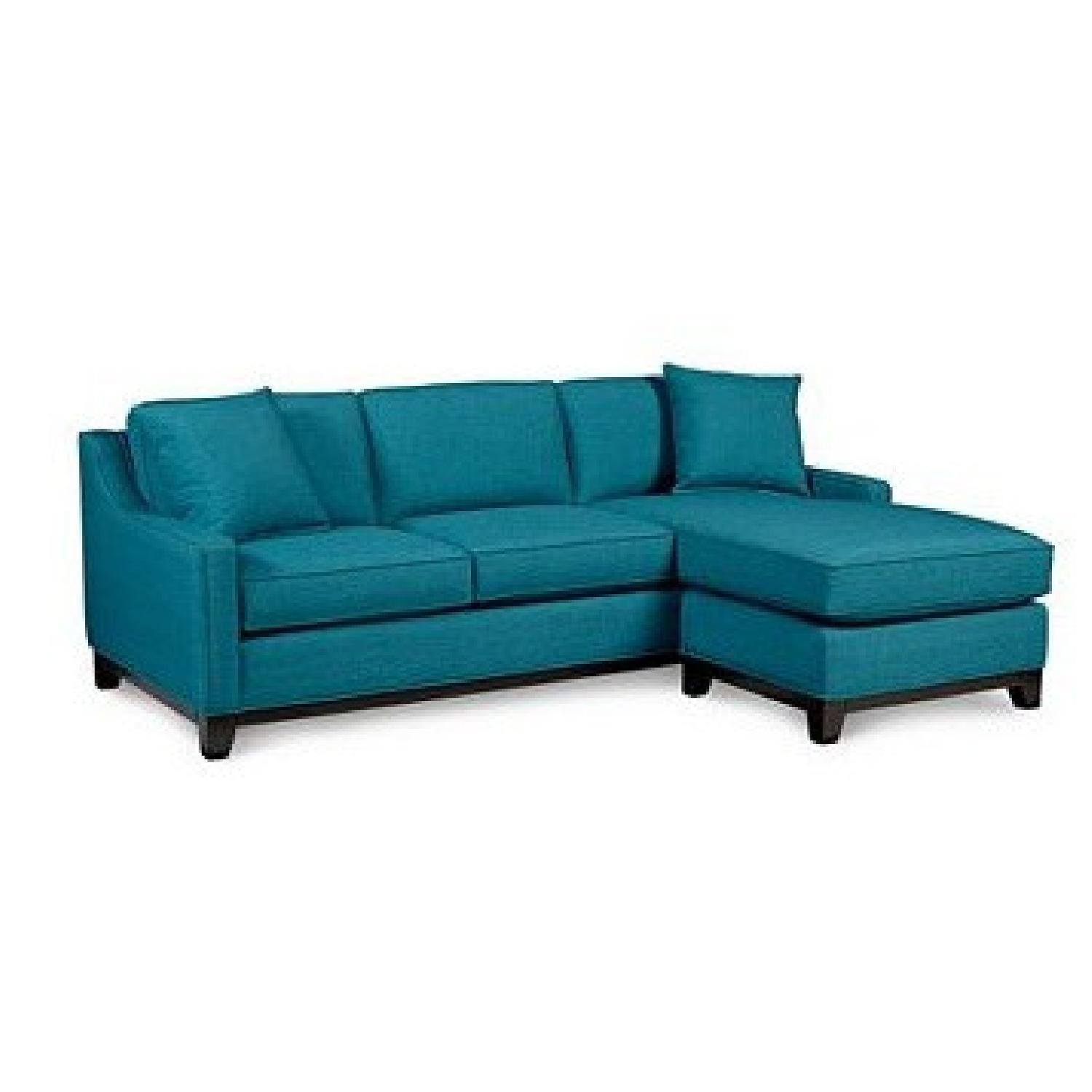 Macy's Keegan Peacock Blue Sectional Sofa w/ Pillows - image-0