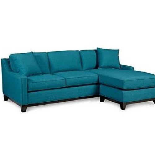 Macy's Keegan Peacock Blue Sectional Sofa w/ Pillows