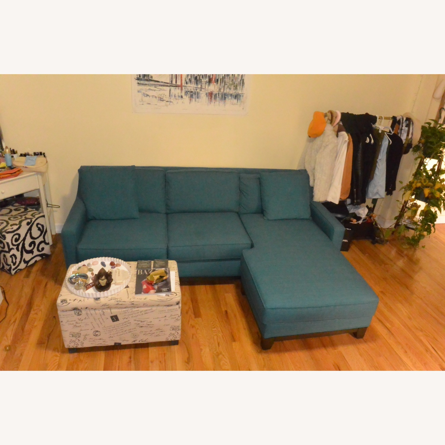 Macy's Keegan Peacock Blue Sectional Sofa w/ Pillows - image-1