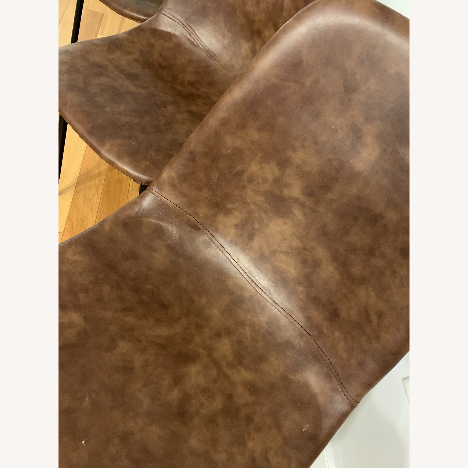 Neil Tobacco Color Faux Leather Dining Chair - image-3