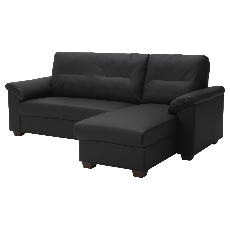 Ikea Knislinge Black Faux Leather Sectional Sofa - image-0