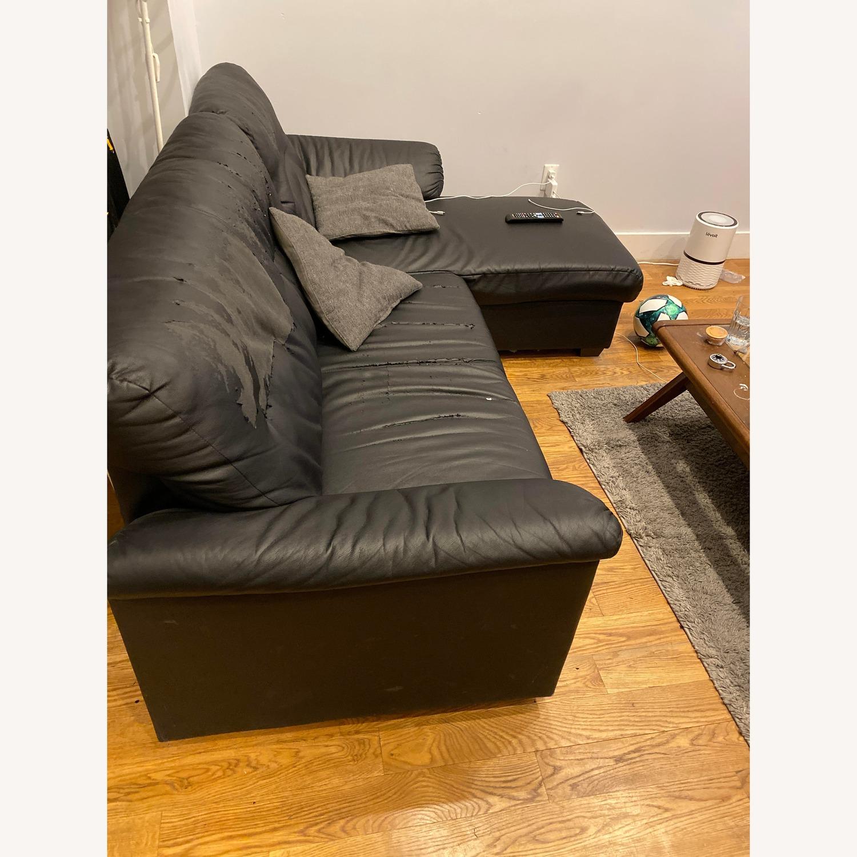 Ikea Knislinge Black Faux Leather Sectional Sofa - image-3