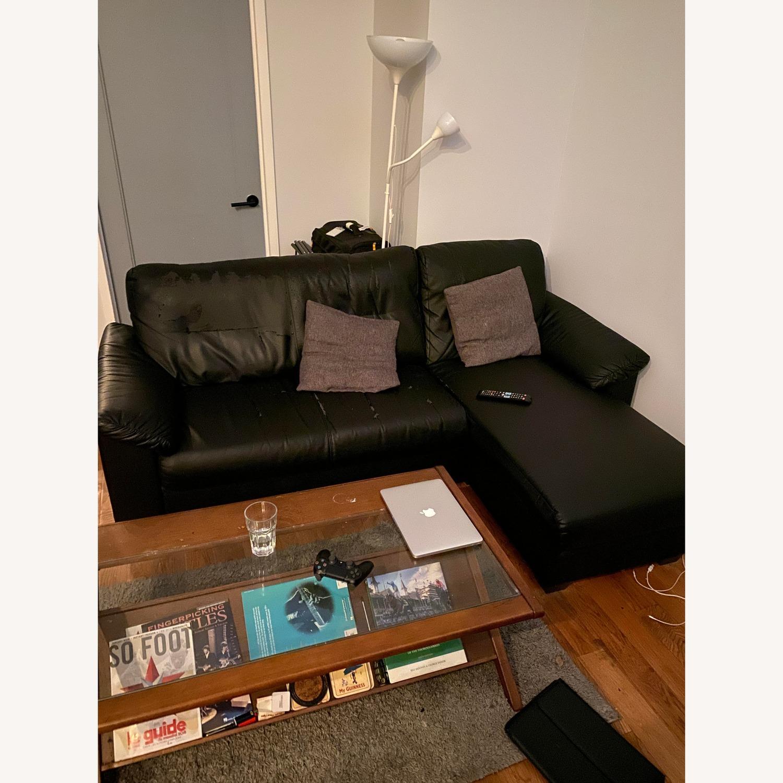 Ikea Knislinge Black Faux Leather Sectional Sofa - image-1