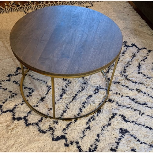 Pottery Barn Delaney Round Coffee Table in French Gray