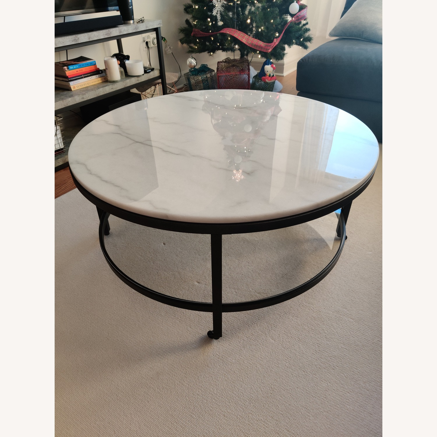 Macy's Stratus Round Marble Coffee Table - image-2