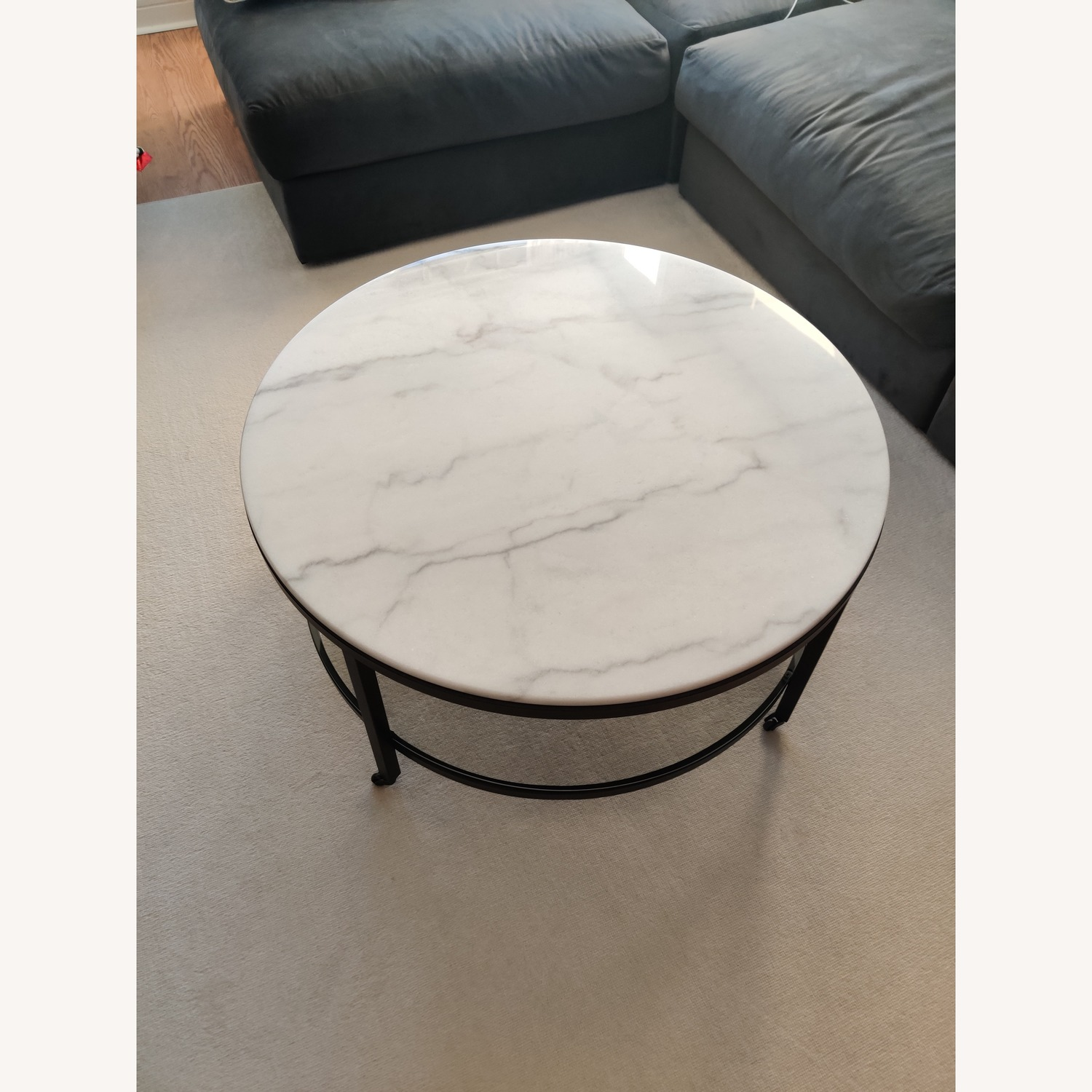 Macy's Stratus Round Marble Coffee Table - image-1