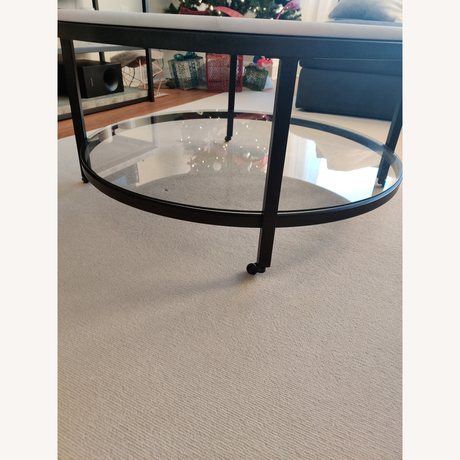 Macy's Stratus Round Marble Coffee Table