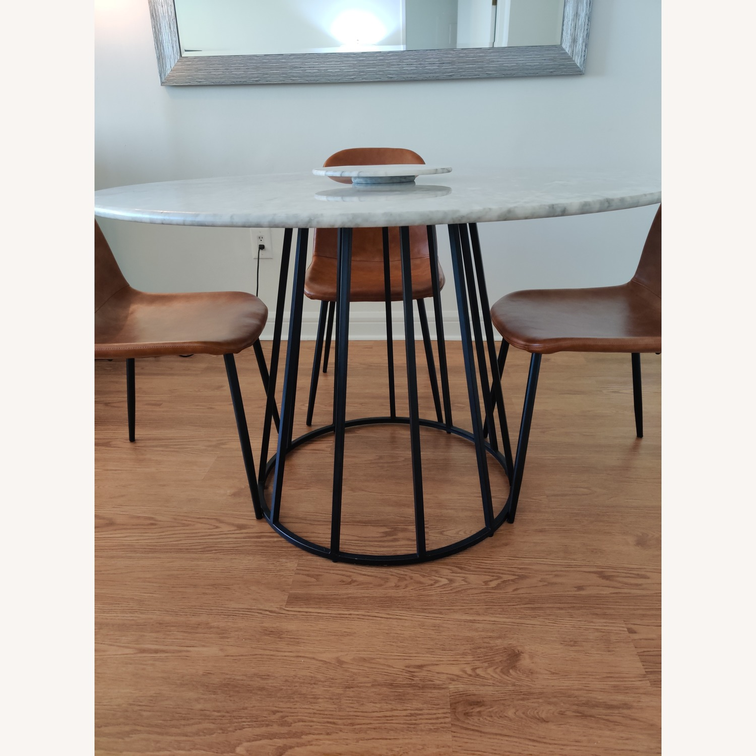 Macy's Round Marble Dining Table w/ 4 Chairs - image-4