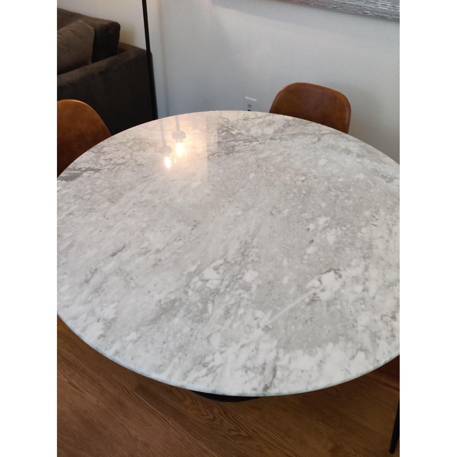 Macy's Round Marble Dining Table w/ 4 Chairs - image-6