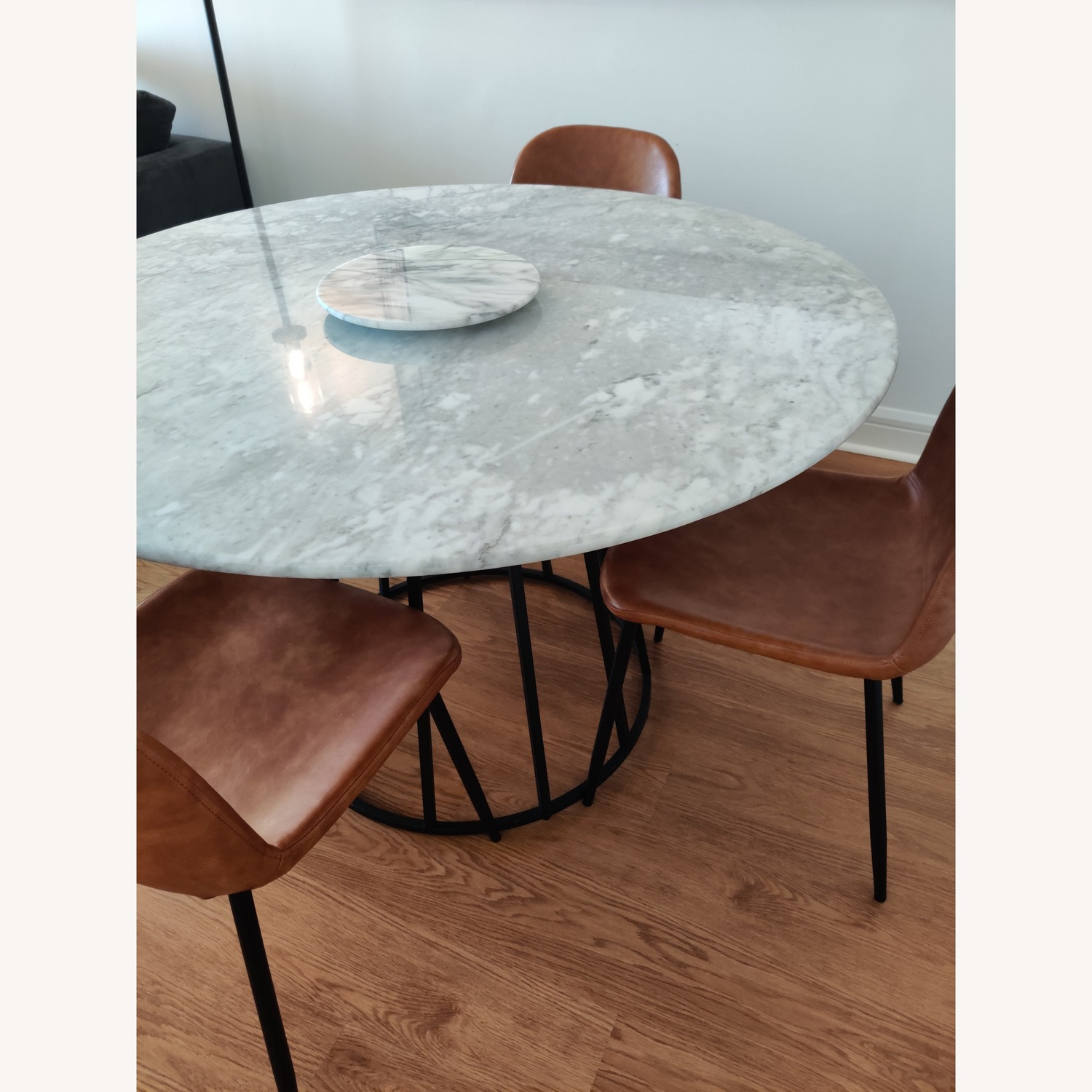 Macy's Round Marble Dining Table w/ 4 Chairs - image-2
