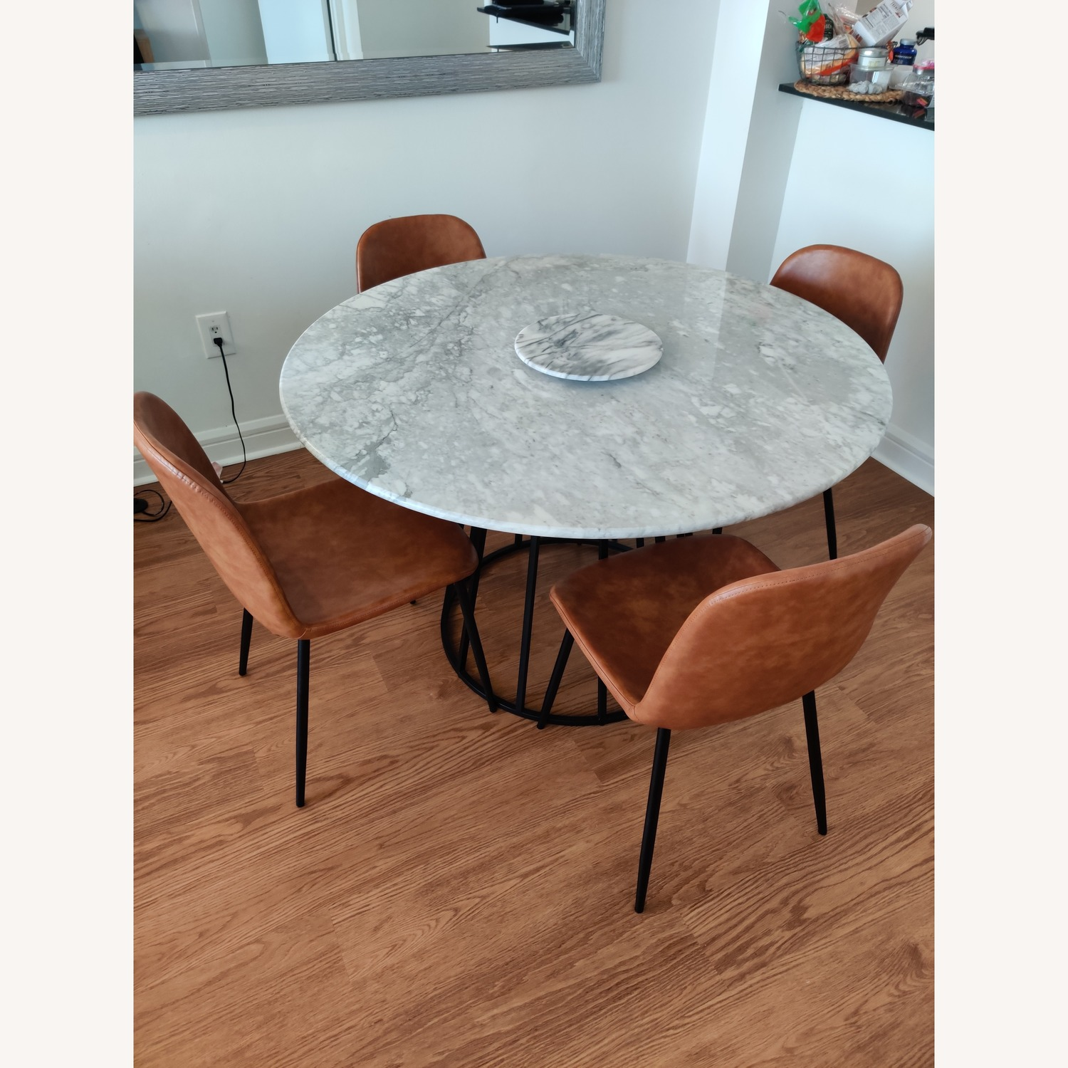 Macy's Round Marble Dining Table w/ 4 Chairs - image-1