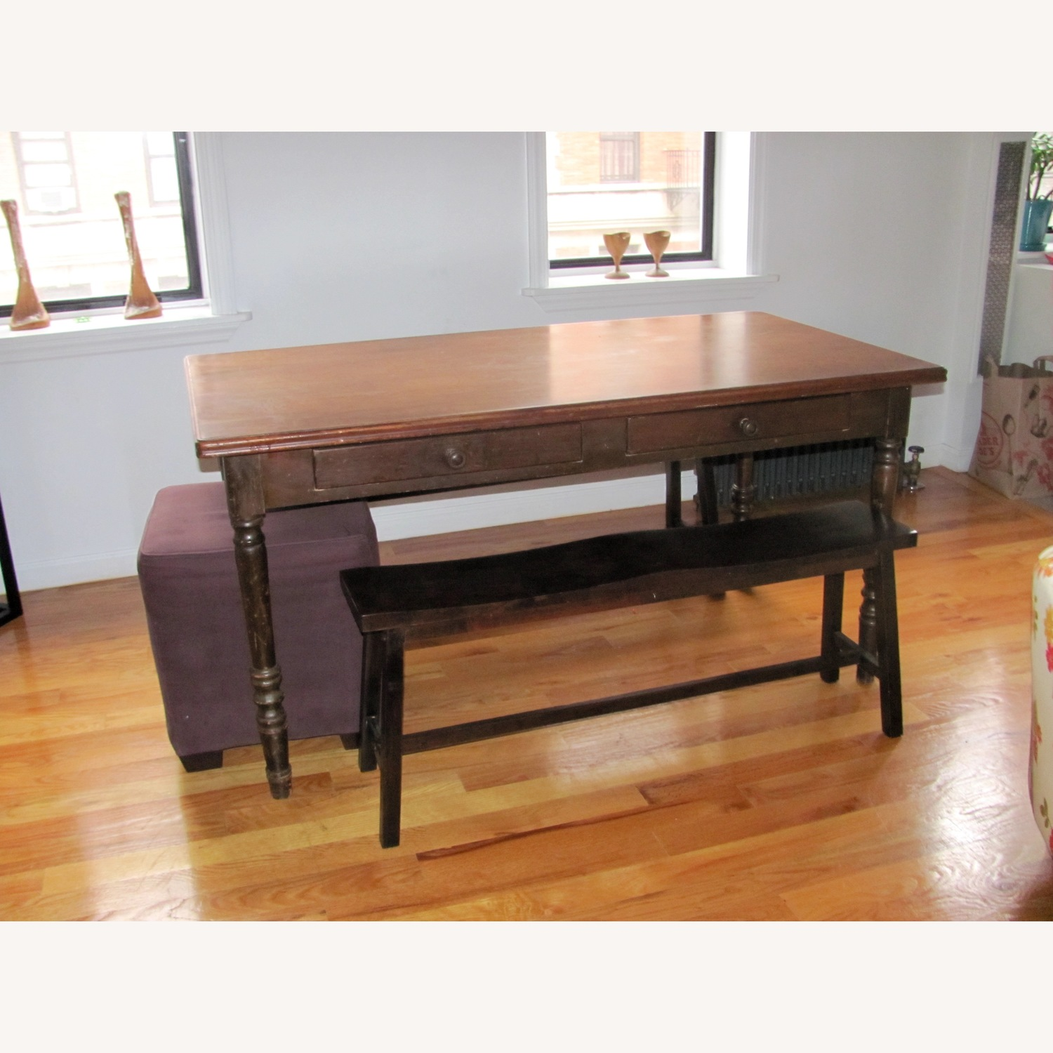 Vintage Wood Dining Table w/ 2 Benches - image-1