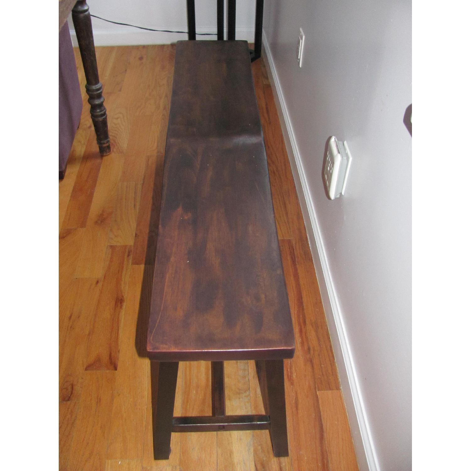Vintage Wood Dining Table w/ 2 Benches - image-4