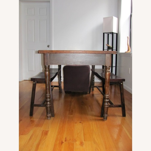 Vintage Wood Dining Table w/ 2 Benches