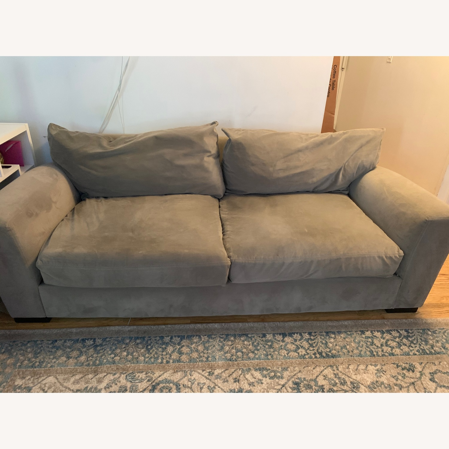 Raymour & Flanigan Carlin Microfiber Sofa + Chair - image-1