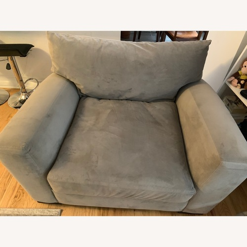 Raymour & Flanigan Carlin Microfiber Sofa + Chair