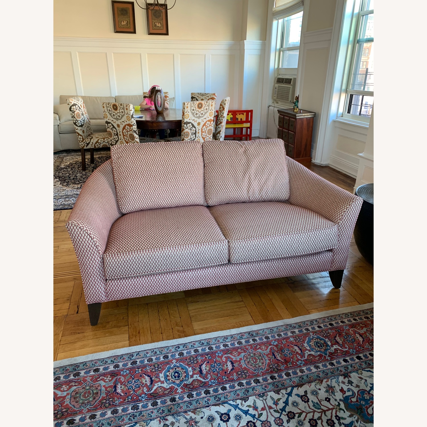 Ethan Allen Red Patterned Loveseat