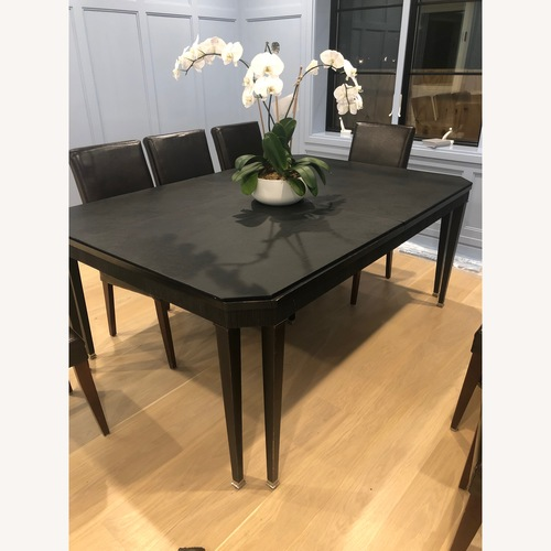 Dark Brown Wood Dining Table w/ 2 Extensions