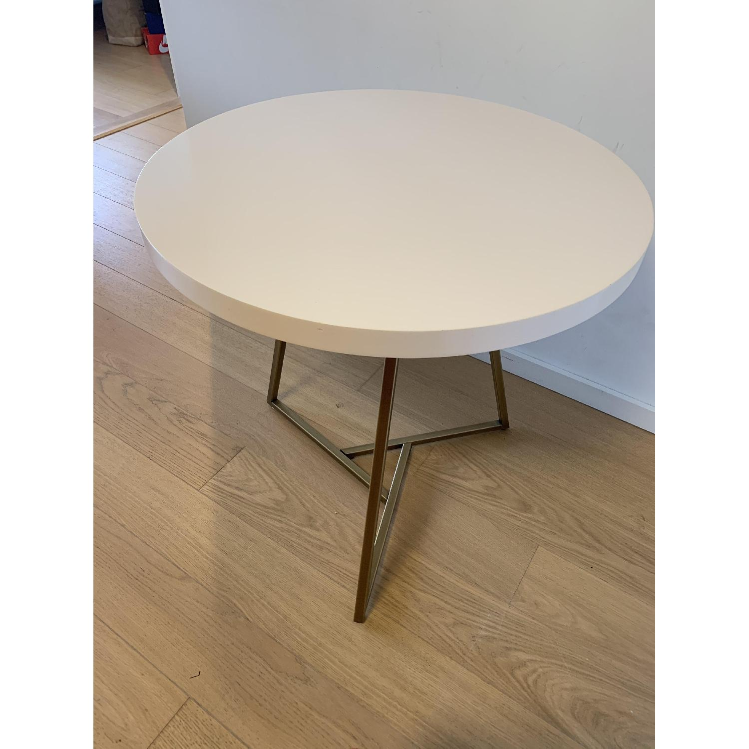 West Elm Lacquer Top Cafe Table in White/Antique Brass