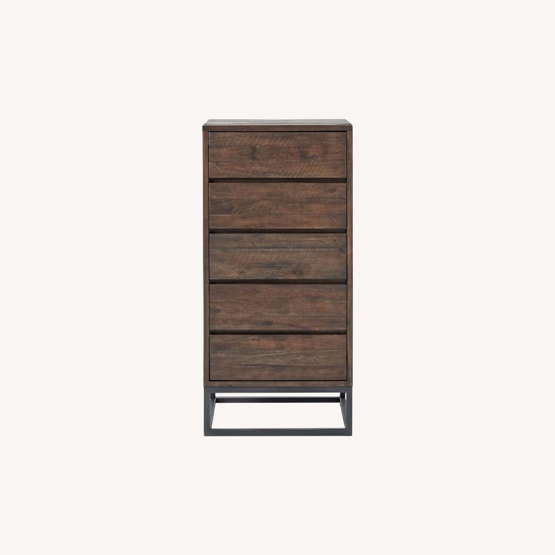 West Elm Logan Industrial 5-Drawer Dresser in Smoked Brown - image-0