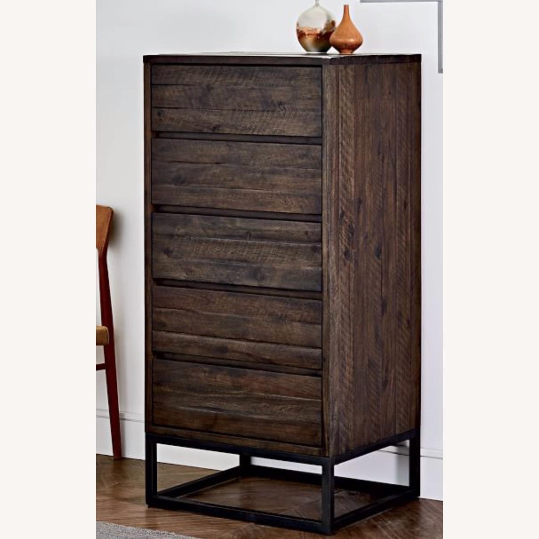 West Elm Logan Industrial 5-Drawer Dresser in Smoked Brown - image-2