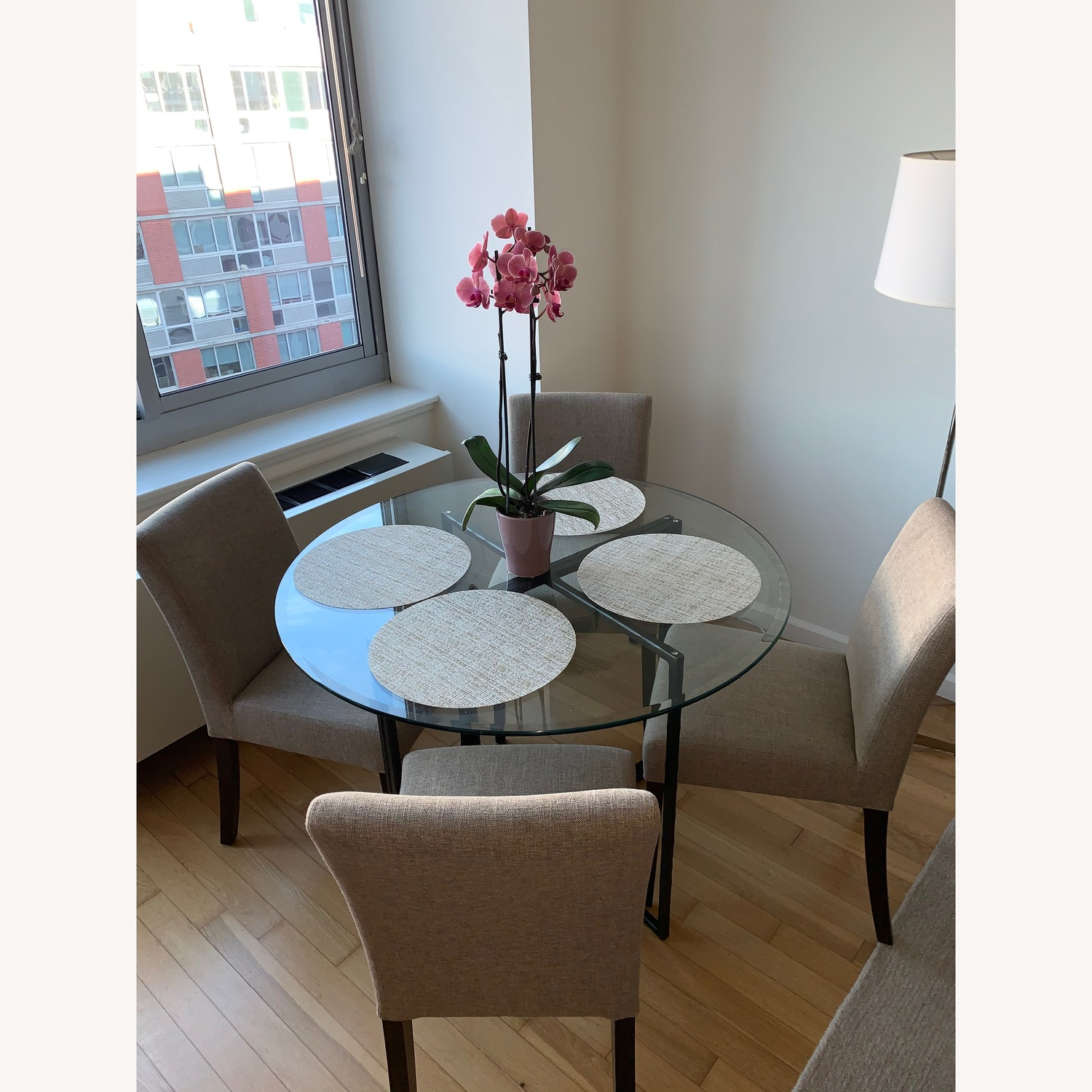 Crate & Barrel Glass Dining Table w/ 4 Chairs - image-1