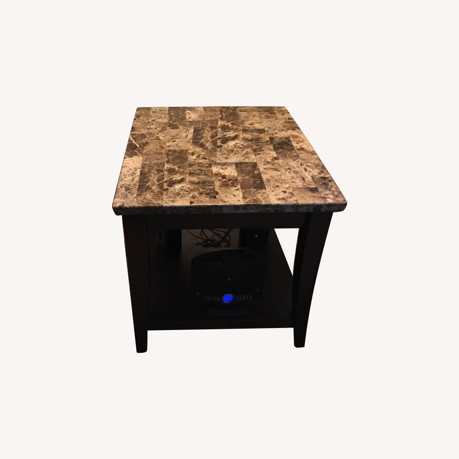 Raymour & Flanigan Marble Top Espresso Coffee + 2 End Tables