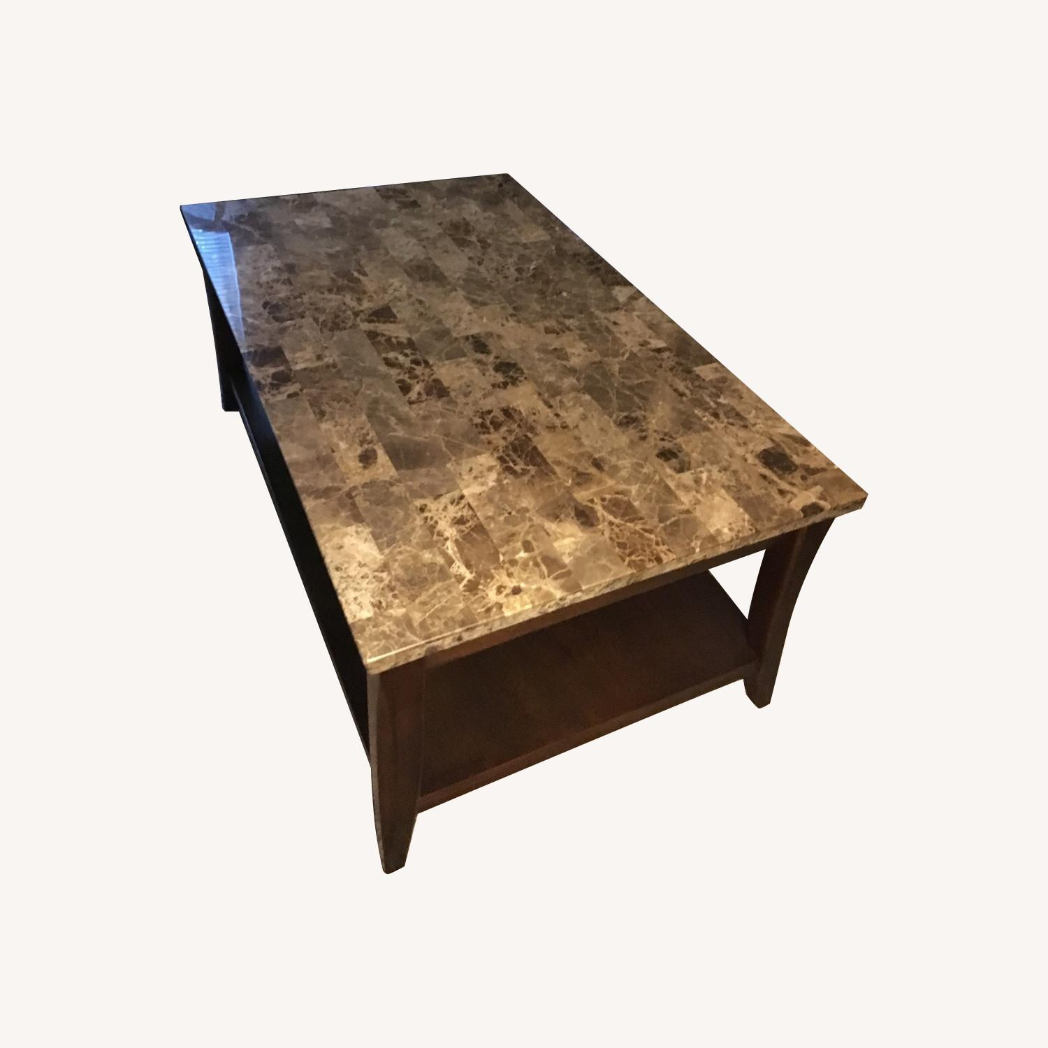 Raymour & Flanigan Marble Top Espresso Coffee + 2 End Tables - image-0