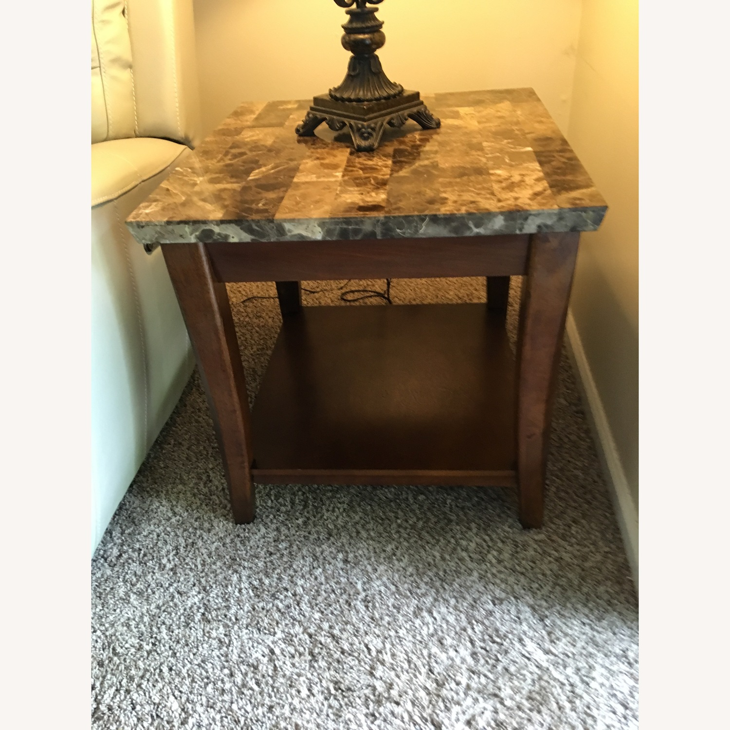 Raymour & Flanigan Marble Top Espresso Coffee + 2 End Tables - image-3