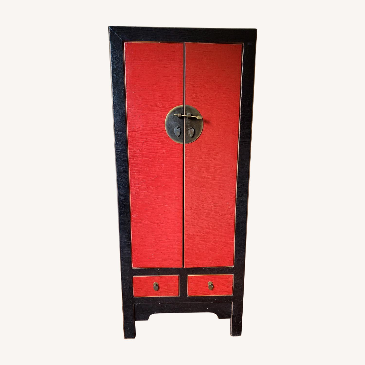 Antique Red Chinese Armoire