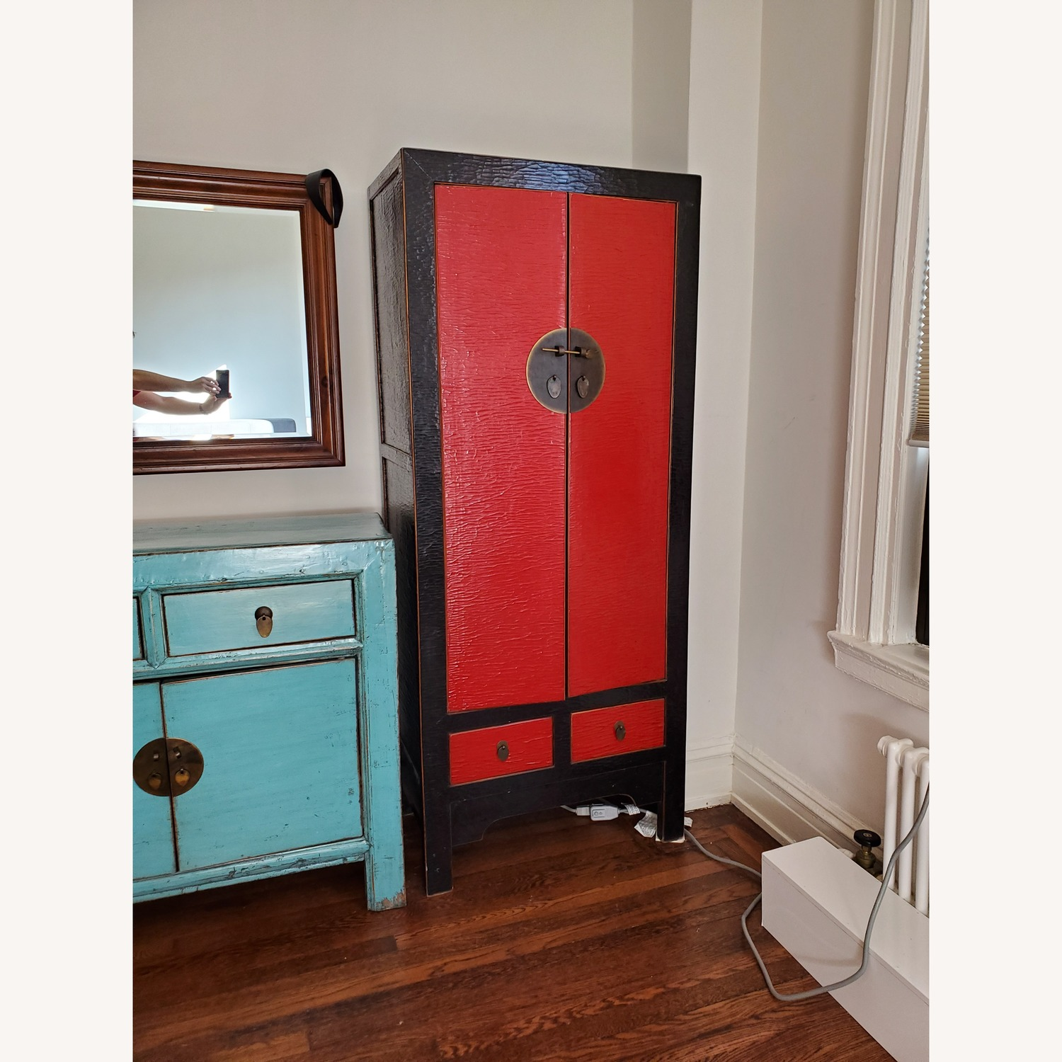 Antique Red Chinese Armoire - image-3