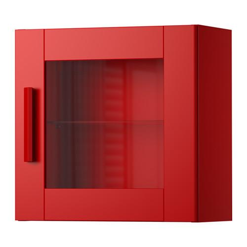 Ikea Red Wall Cabinets w/ Glass Door