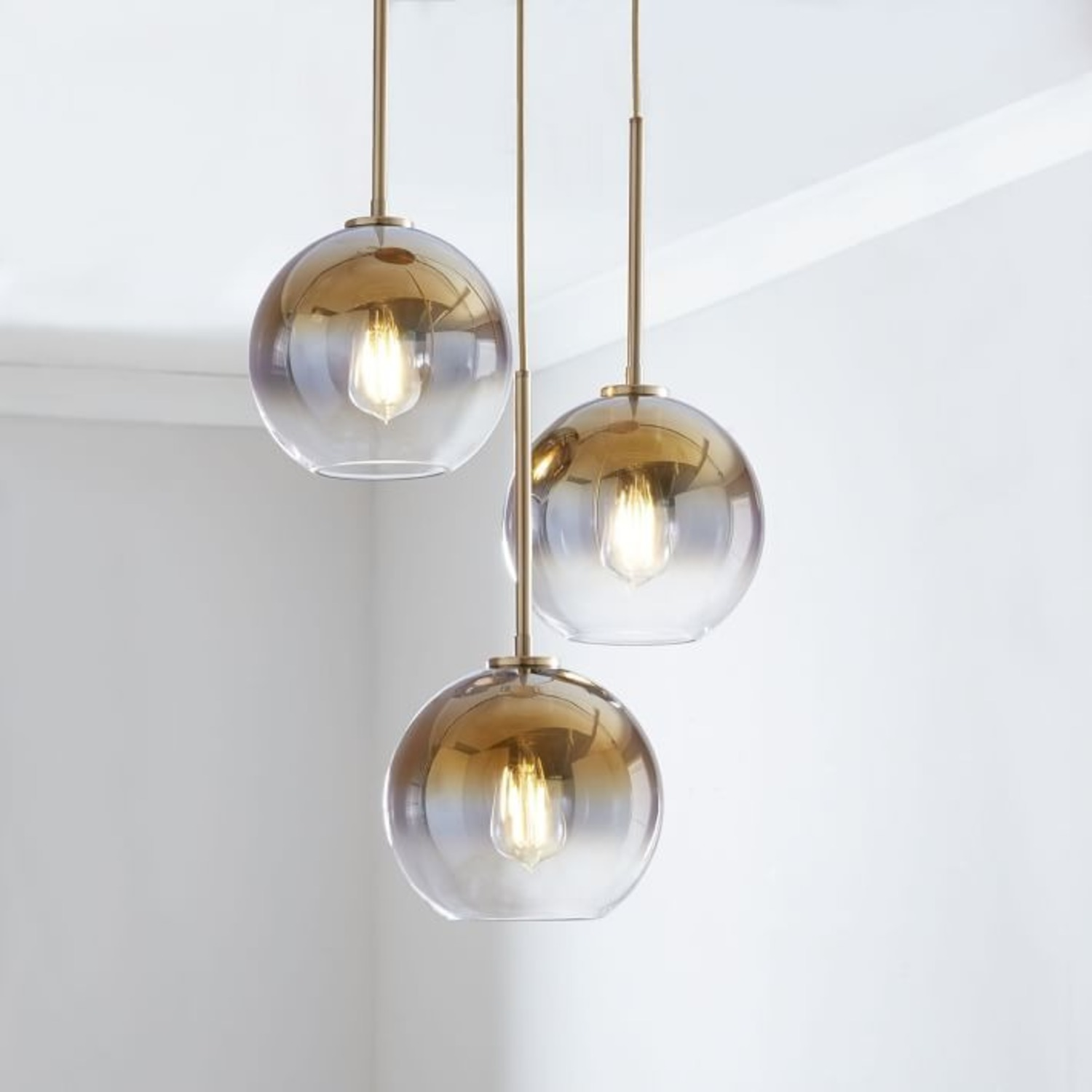 West Elm Sculptural Glass 3 Light Globe Chandelier