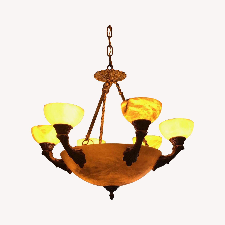 Alibaster 6 Light Bronze Chandelier - image-0