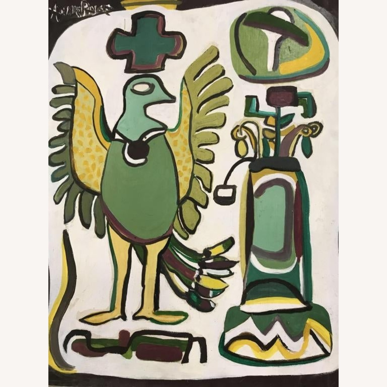 Mid Century Folk Art Abstract Painting - Bird - image-4