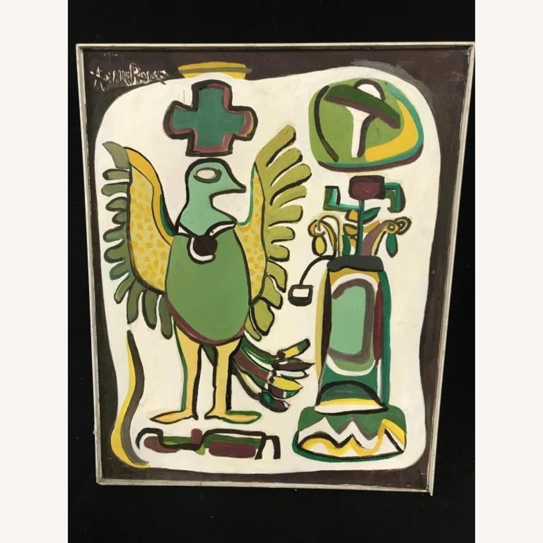 Mid Century Folk Art Abstract Painting - Bird - image-5